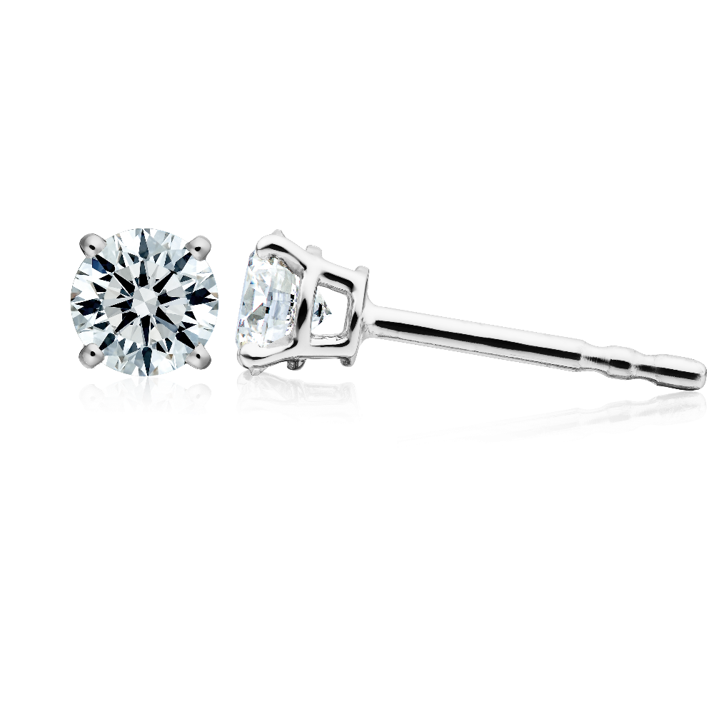 Single Stone Diamond Stud Earrings