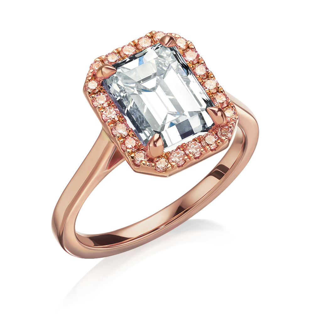 Emerald Cut Diamond With Pink Diamond Surround