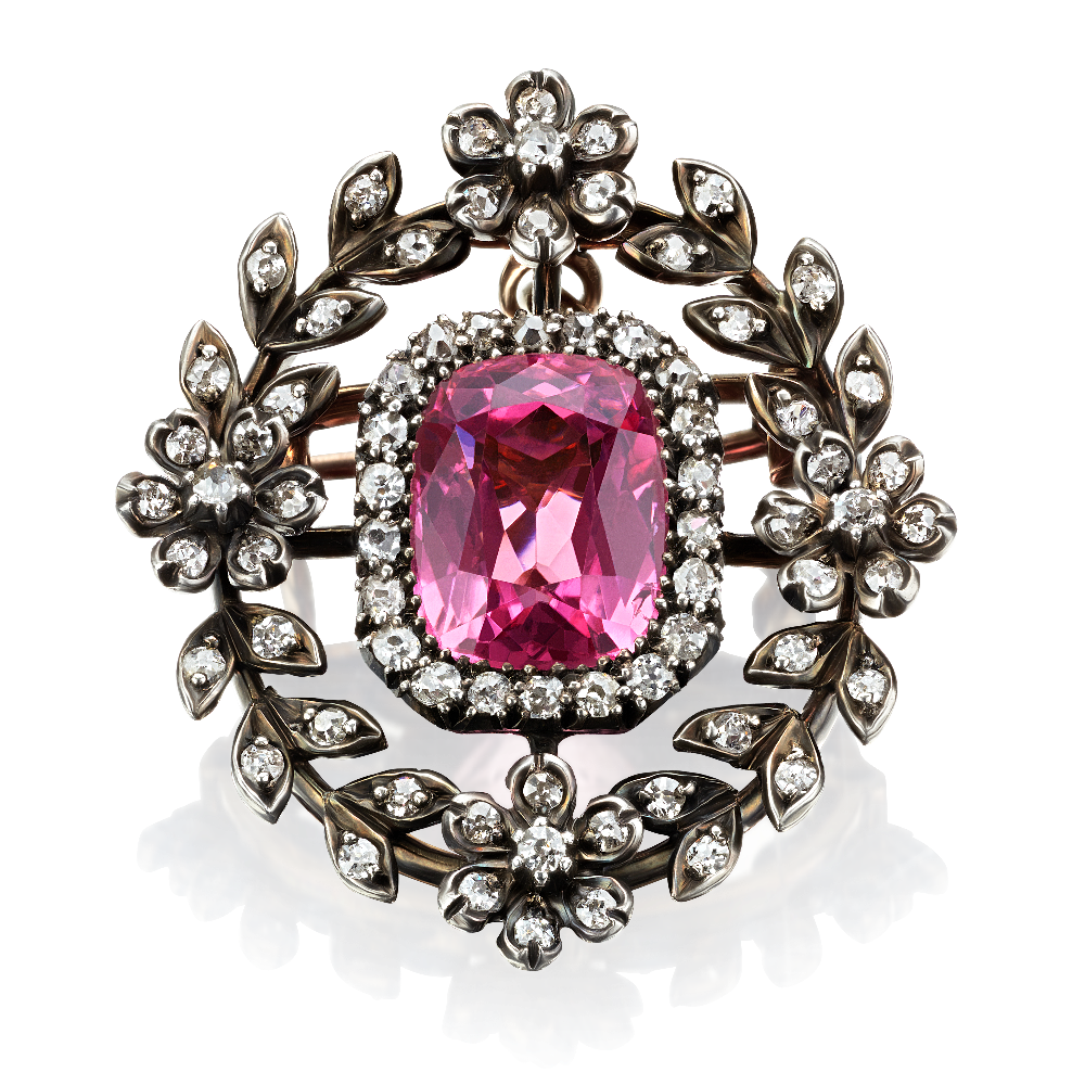 Pink Topaz and Diamond Brooch