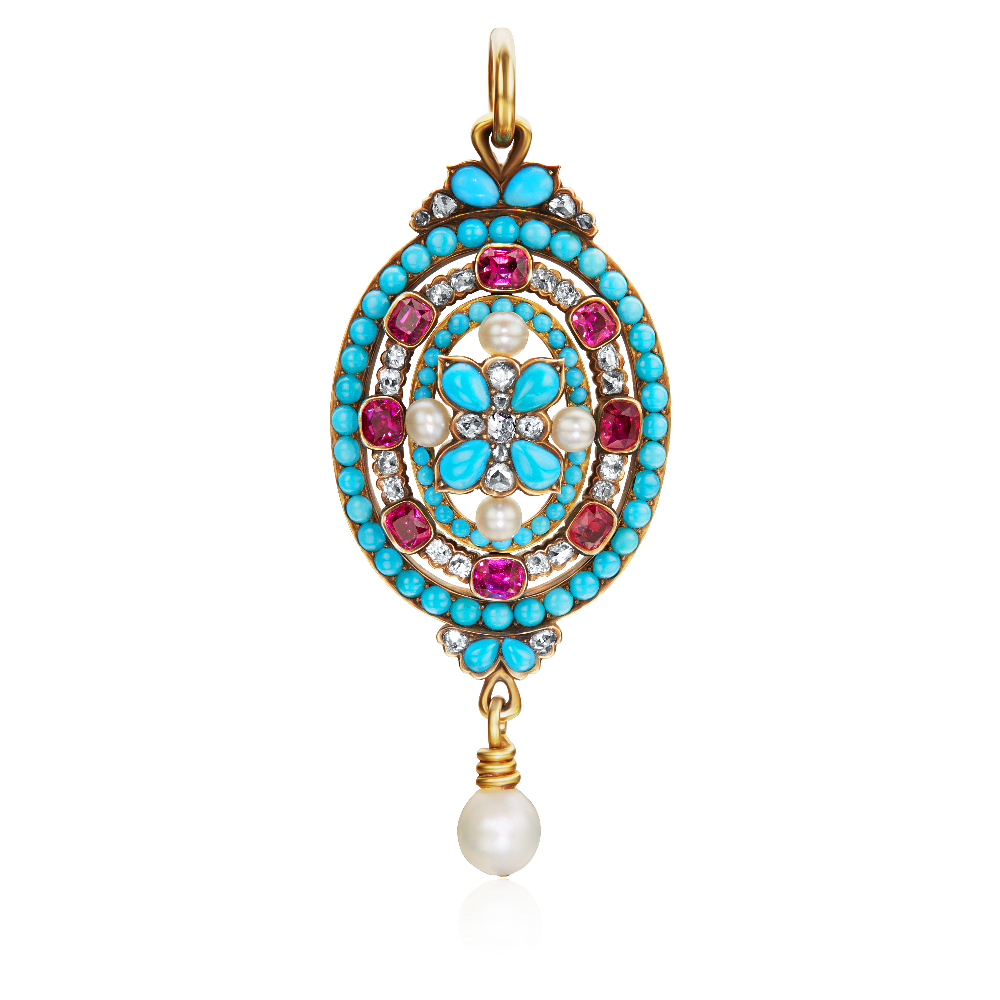 Turquoise, Diamond, Ruby and Pearl Set Pendant