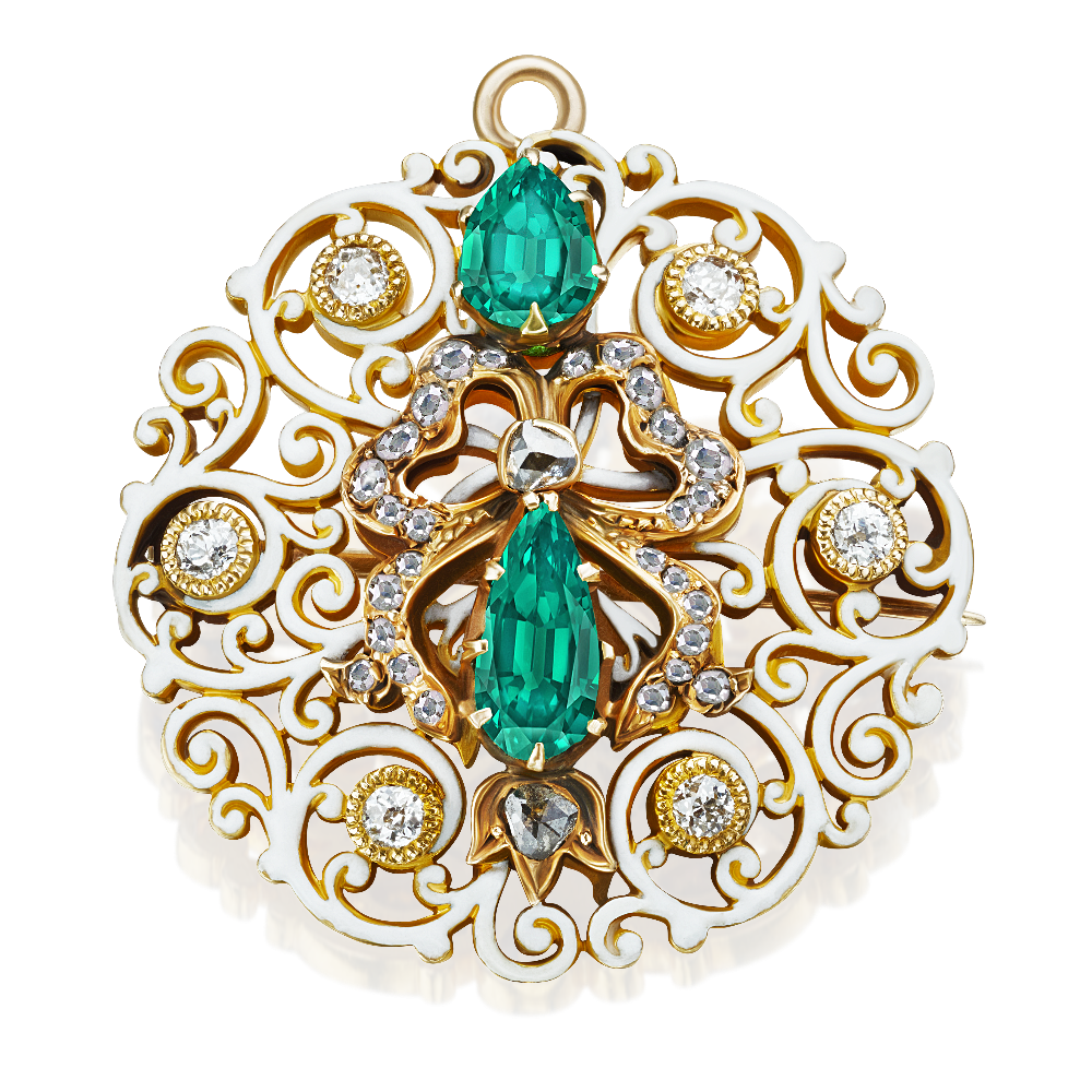 Black Starr and Frost Enamel, Emerald and Diamond Brooch