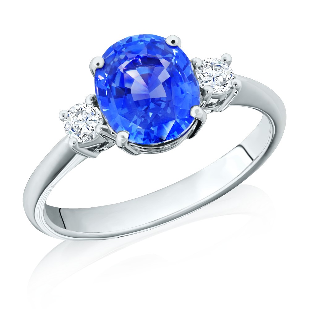Natural Blue Sapphire and Diamond Three Stone Ring