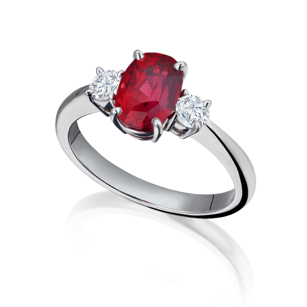 Natural Ruby and Diamond Three Stone Ring