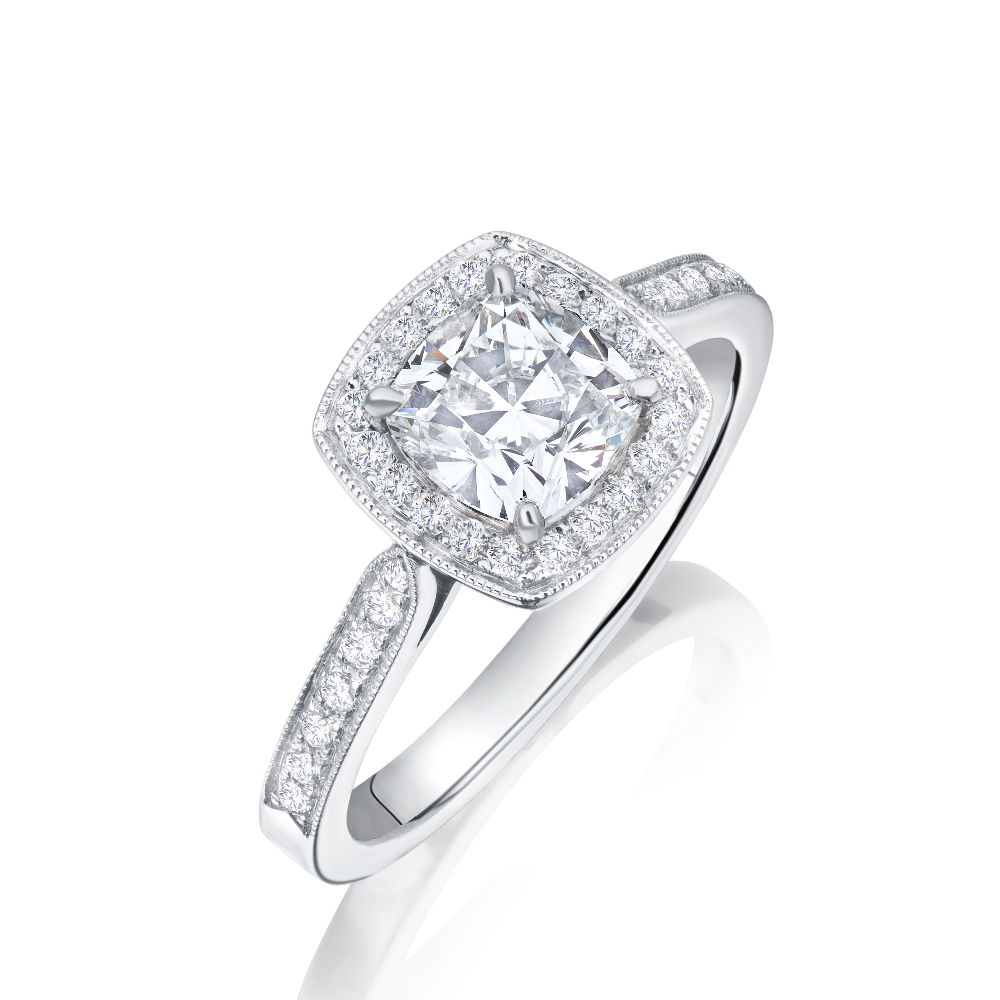 FireMark Cushion Cut Diamond Engagement Ring