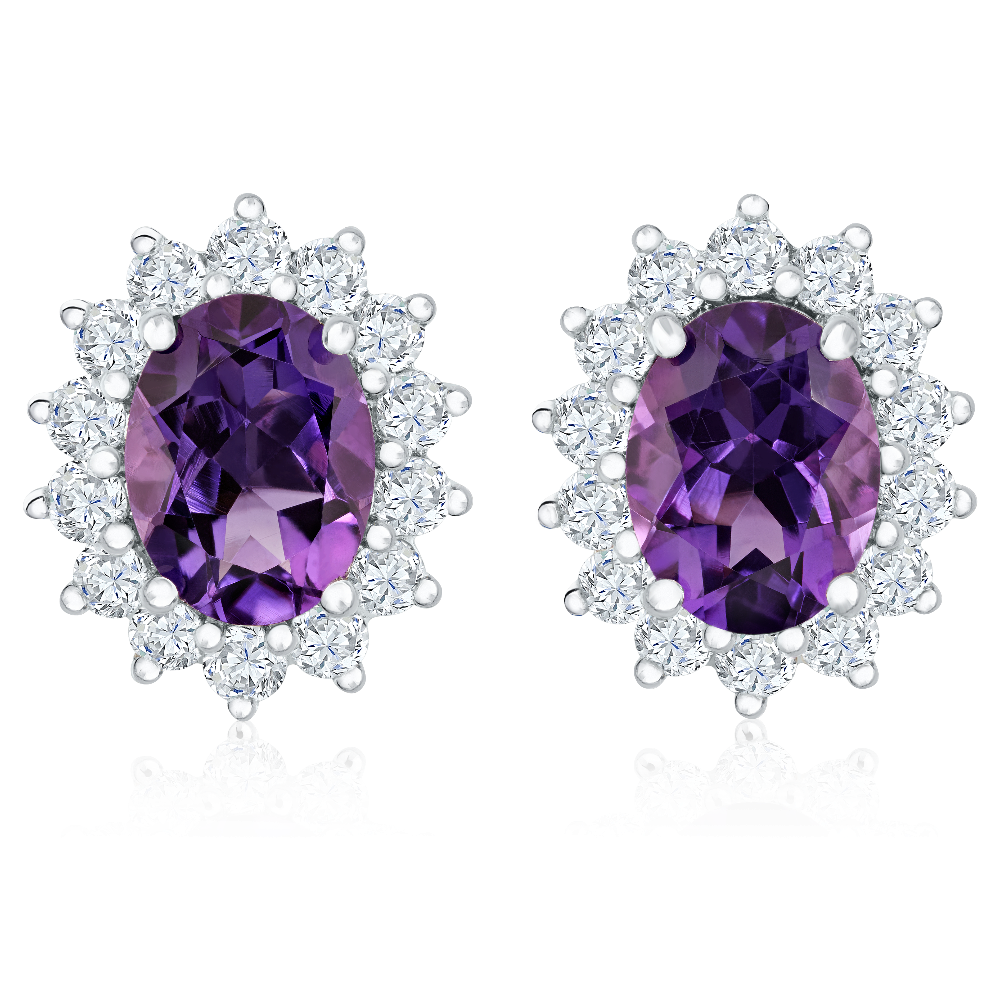Amethyst and Diamond Cluster Earrings