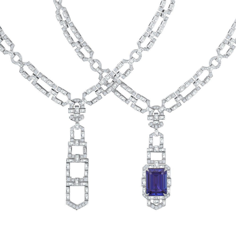 Interchangeable Tanzanite and Diamond Drop Necklet