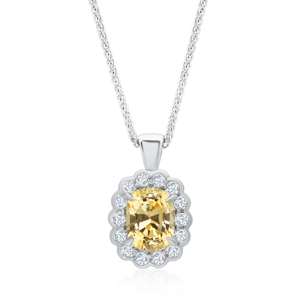 Natural Oval Yellow Sapphire and Diamond Cluster Pendant