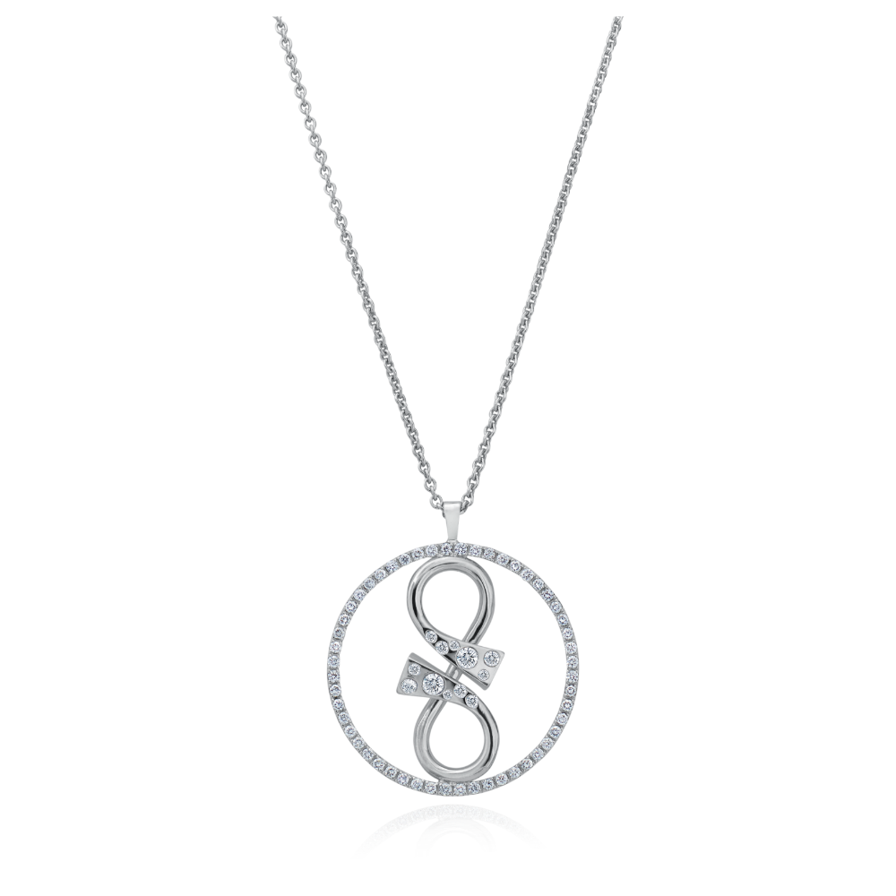 'GC' Diamond Set Infinity Pendant