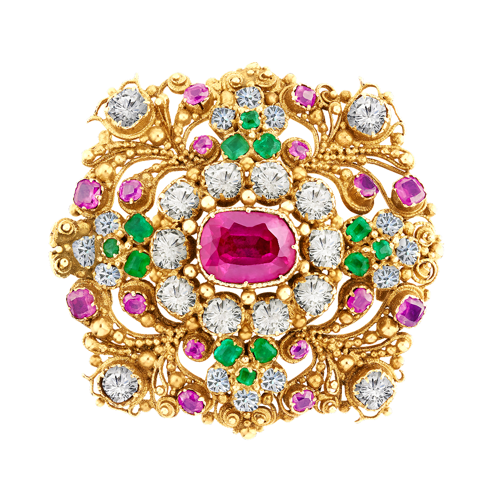 Ruby, Diamond and Emerald Set Regency Brooch