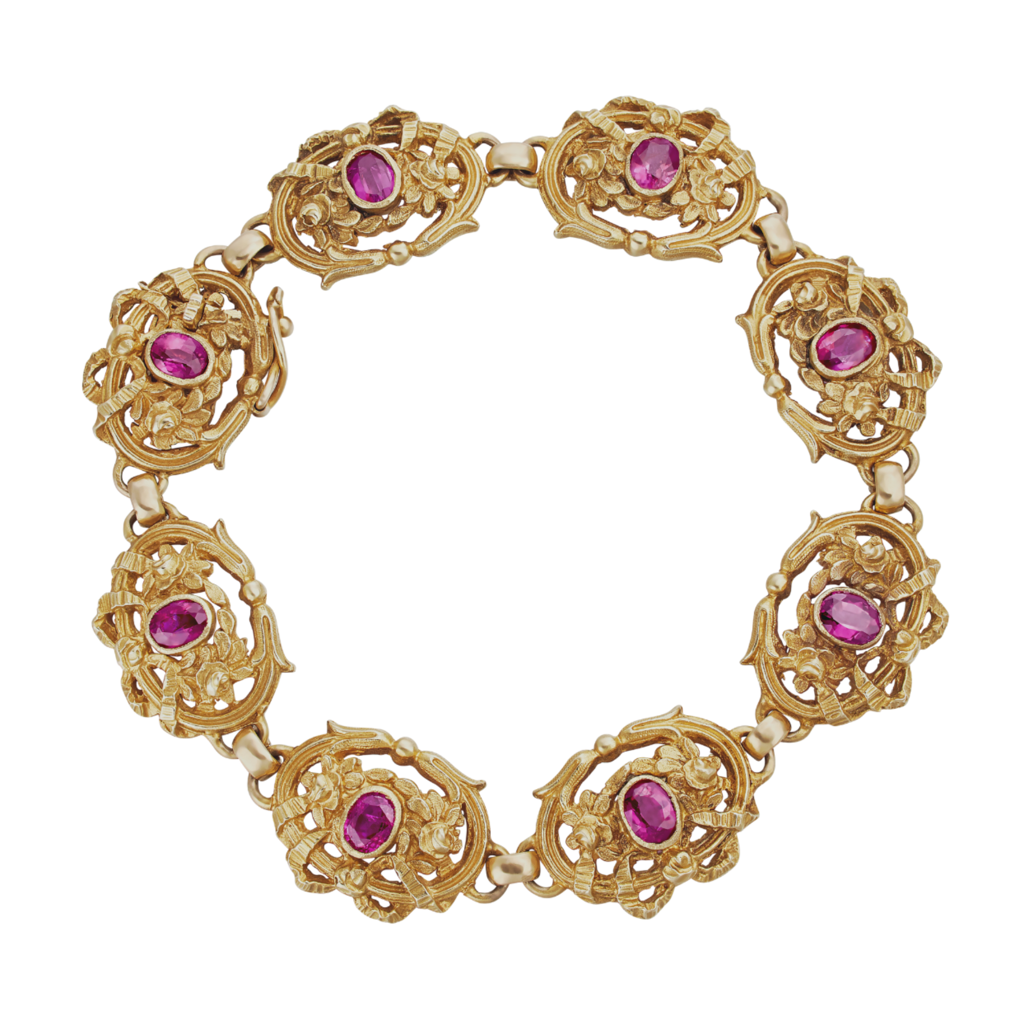 Gold Fancy Link French Bracelet Set With Rubies