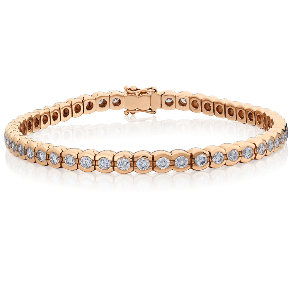 18ct Rose Gold Diamond Line Bracelet