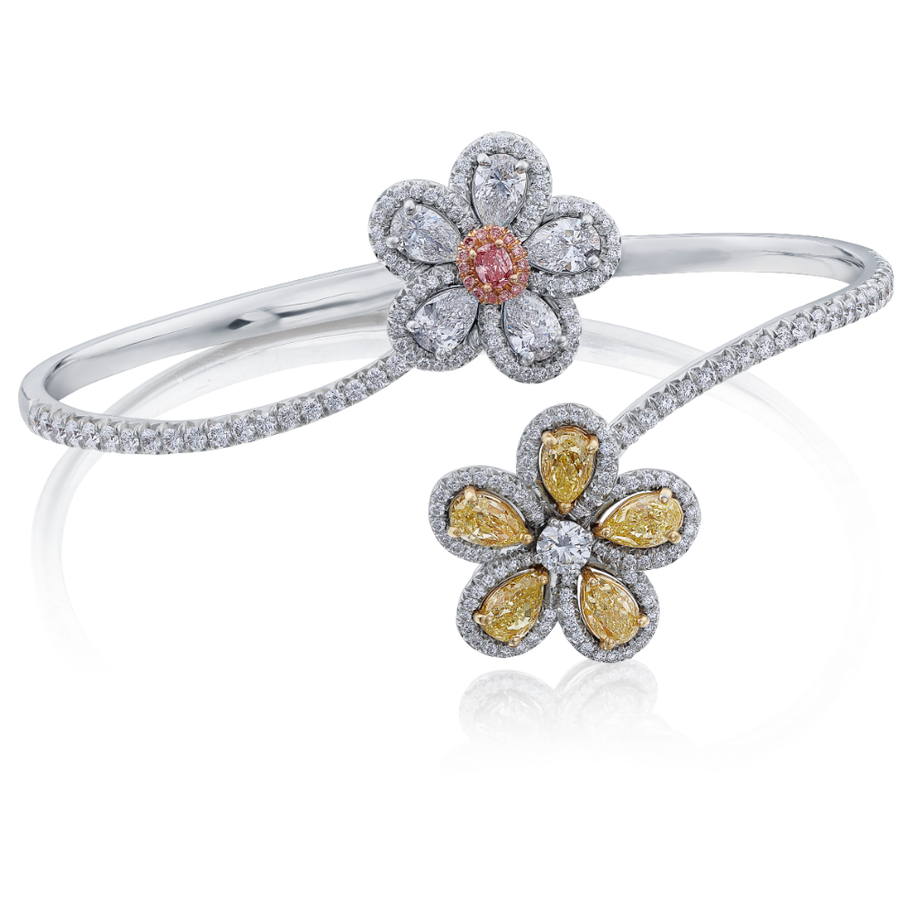 Diamond Set Crossover Flower Bangle