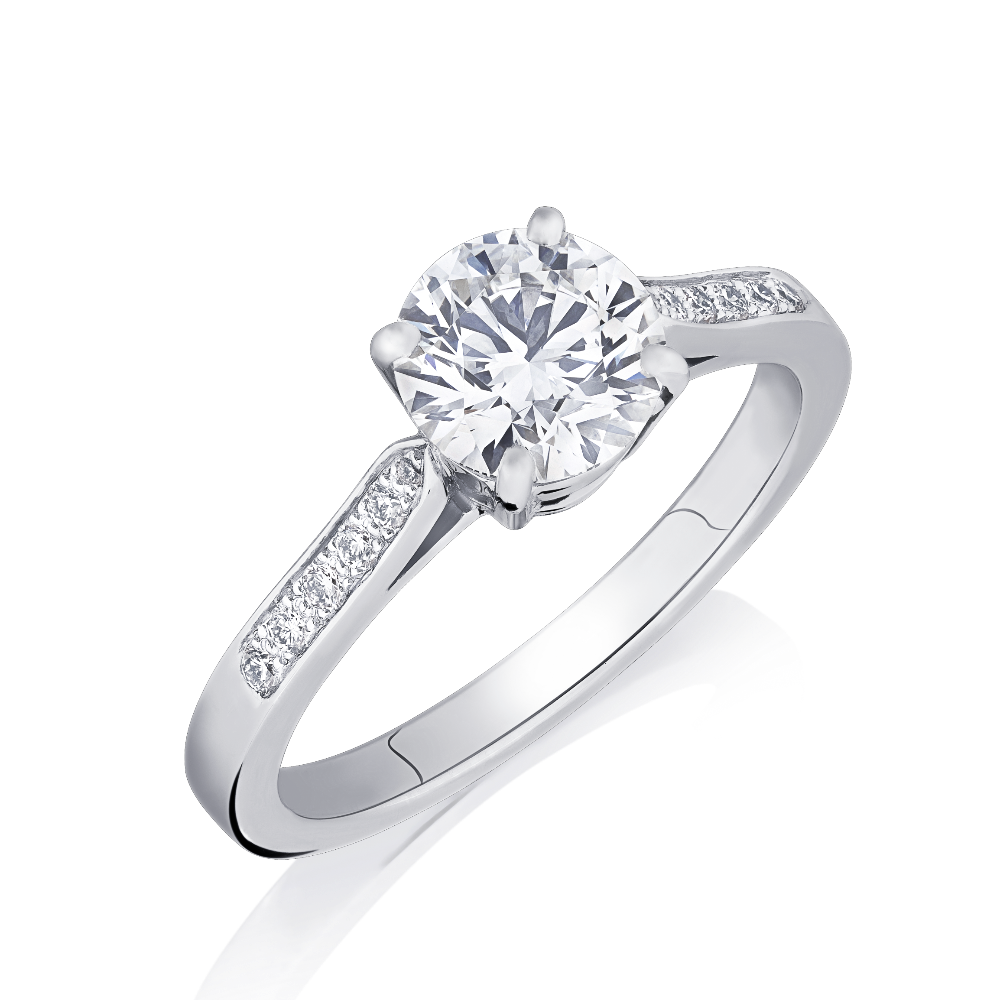 Round Brilliant Cut Diamond Engagement Ring With Diamond Set Shoulders