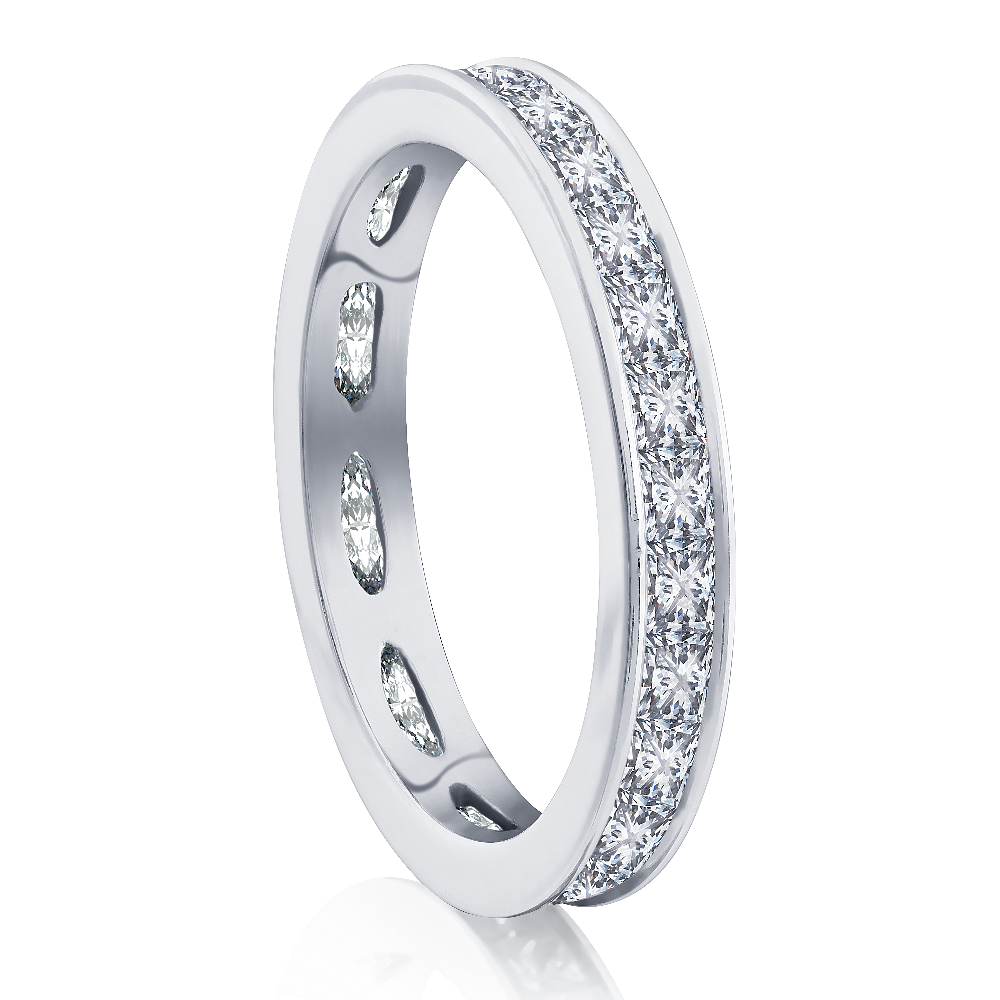 Channel Set Princess Cut Diamond Eternity Ring