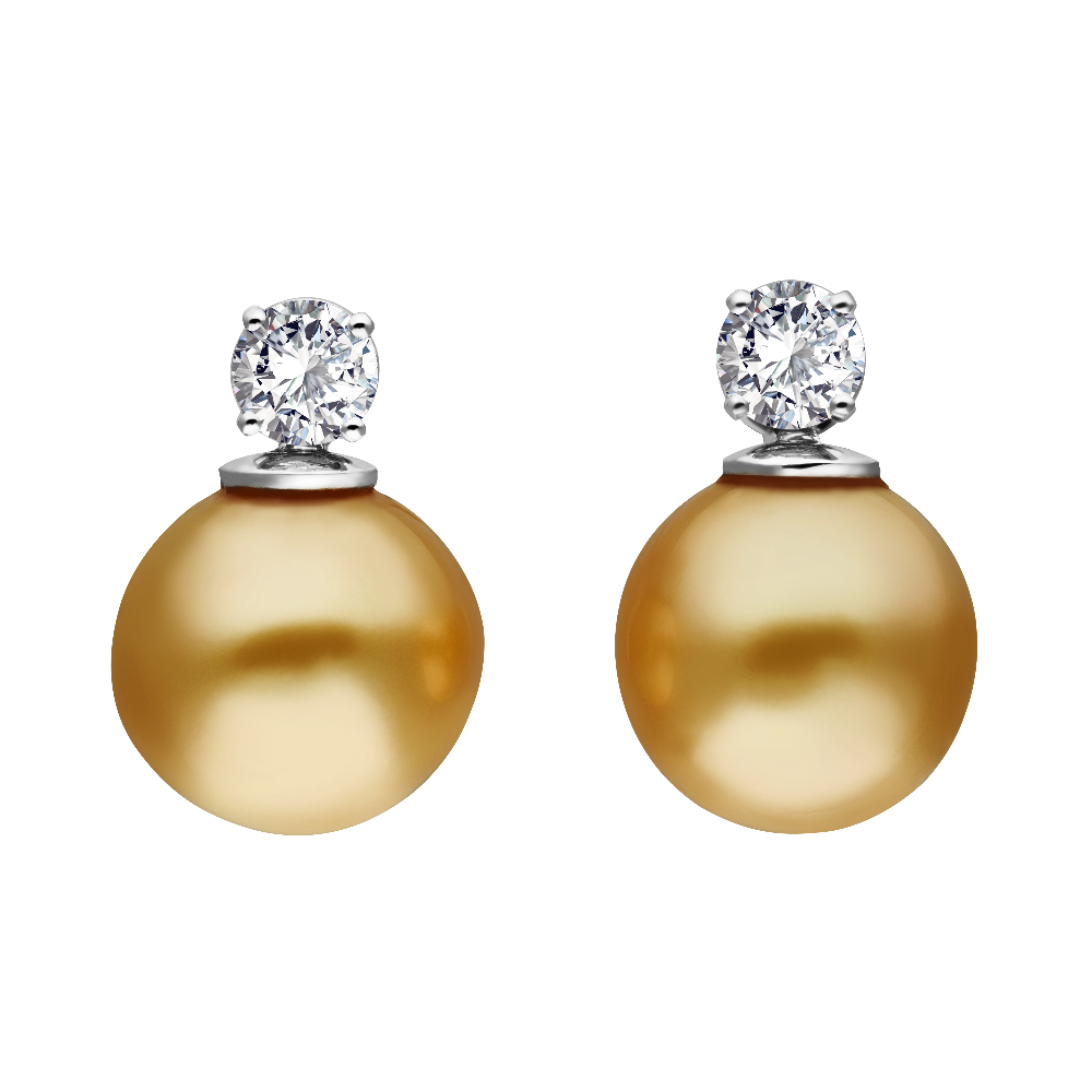 Golden Tahitian Pearl and Diamond Earrings