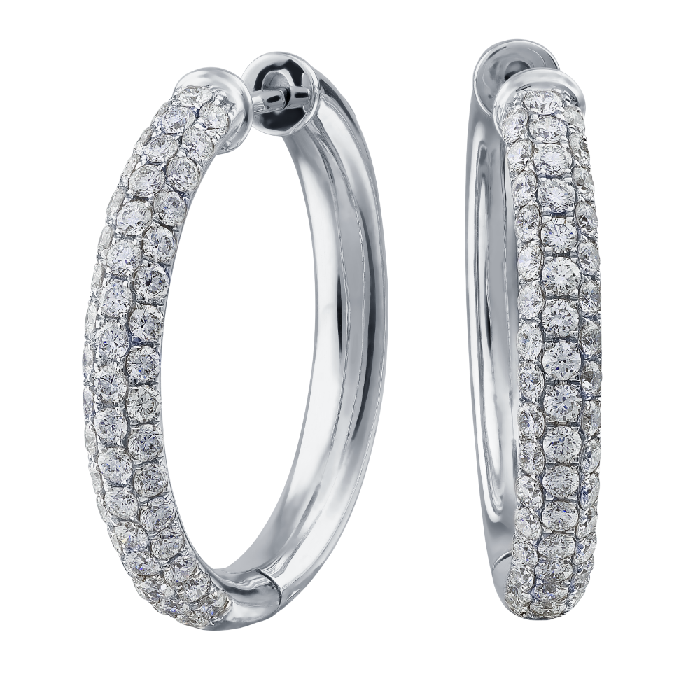 Pavé Set Diamond Hoop Earrings