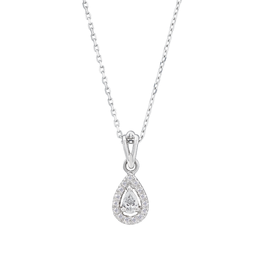 Pear Shape Diamond Pendant With A Halo Surround