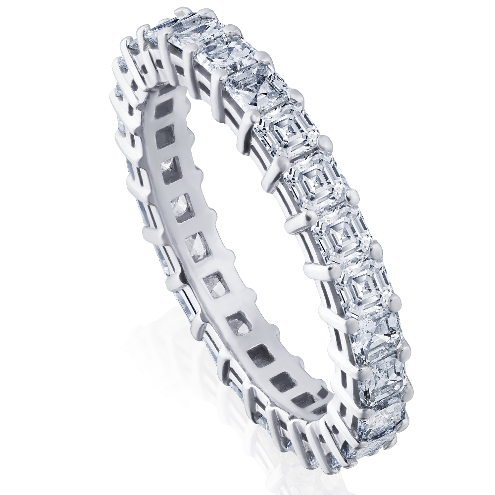 Square Emerald Cut Diamond Set Full Eternity Ring