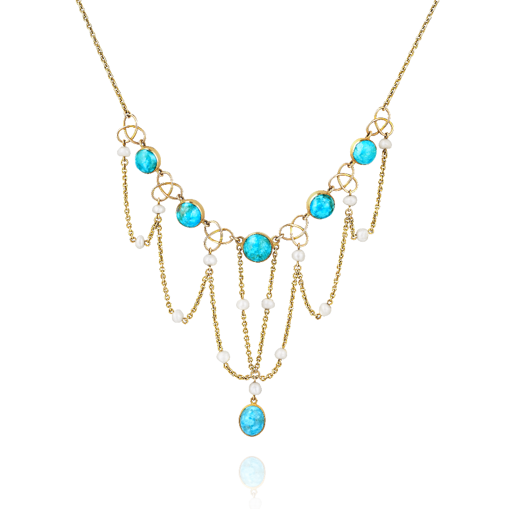 Turquoise and Seed Pearl Necklet