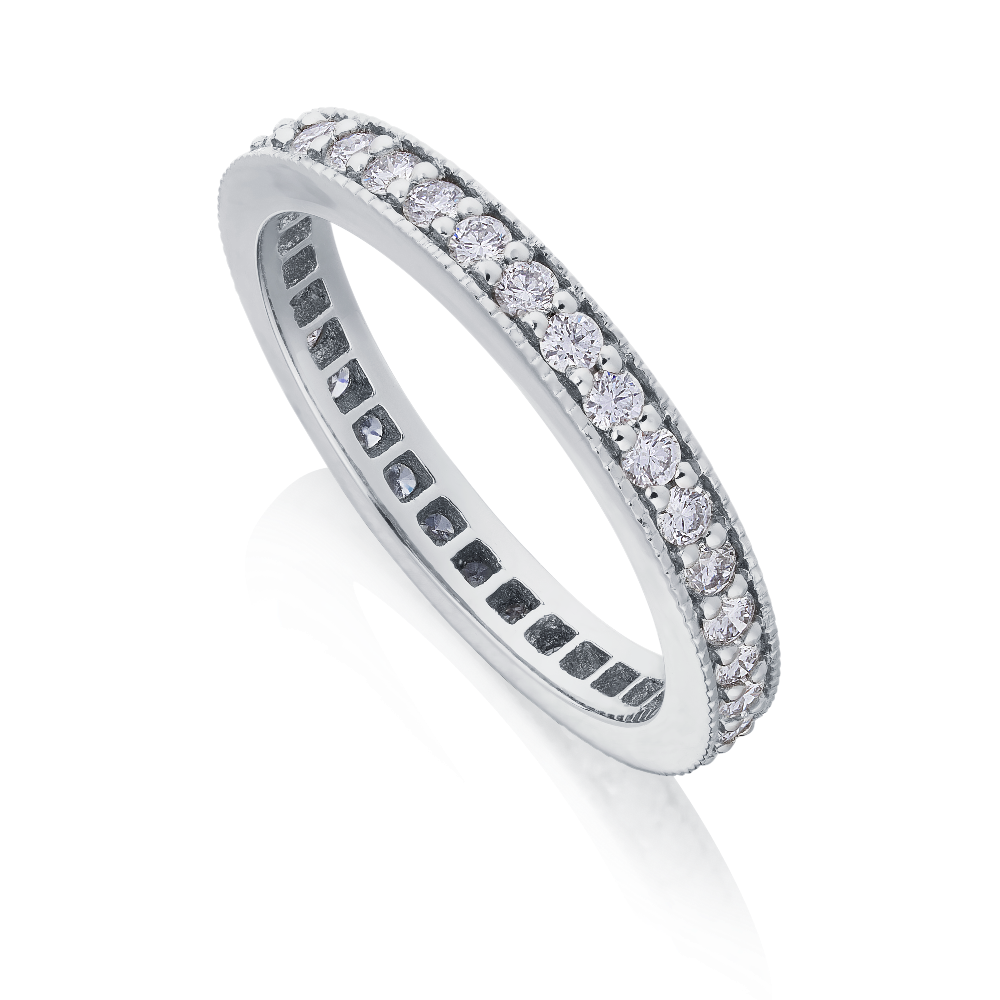 Diamond Set Full Eternity Ring With Milgrain Edge
