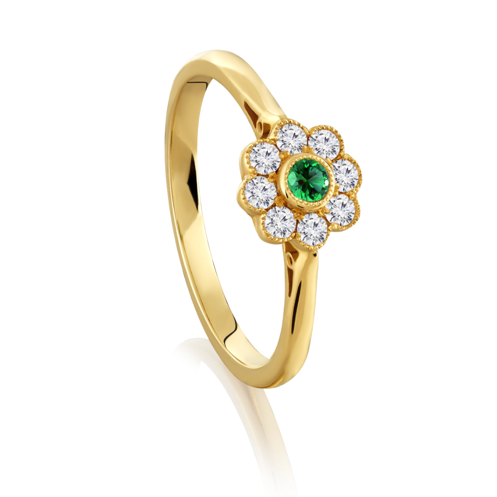Emerald and Diamond Flower Shape Ring
