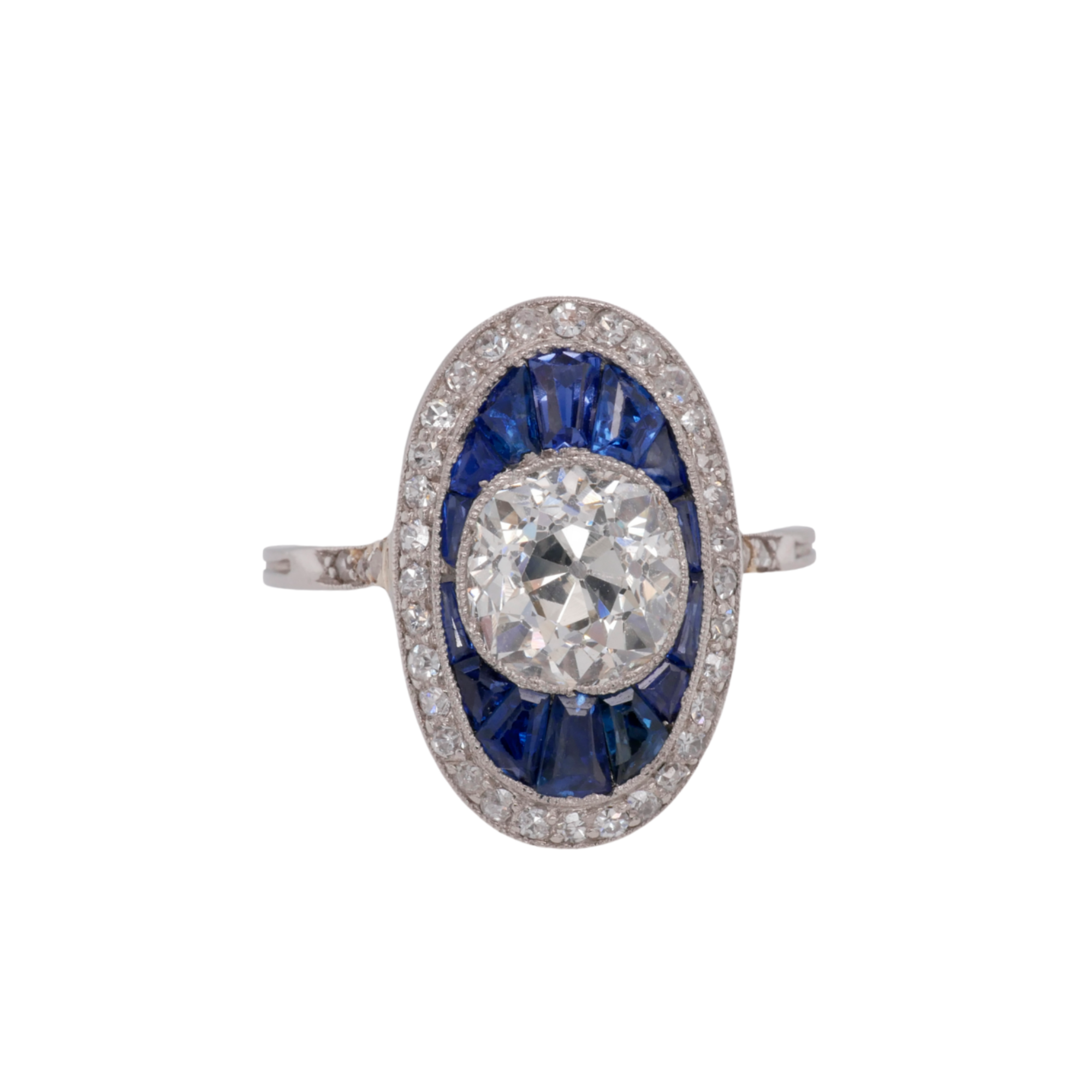 Art Deco Sapphire and Diamond Oval Ring
