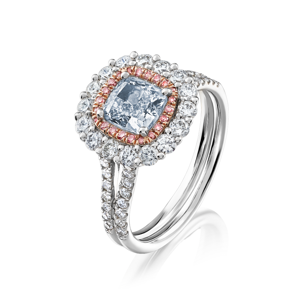 Blue Diamond Ring With Pink Diamond Surround