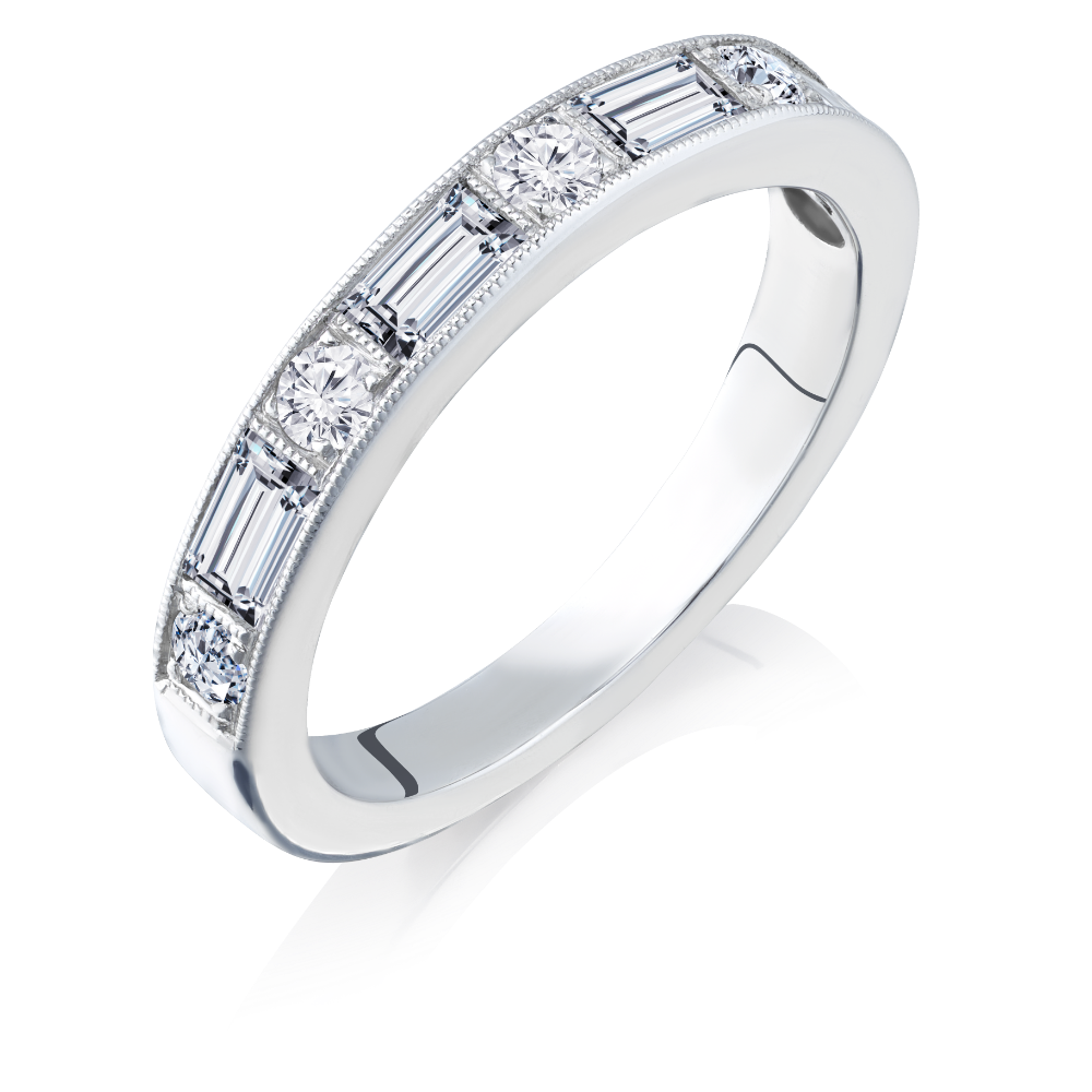 Mixed Cut Diamond Set Half Eternity Ring