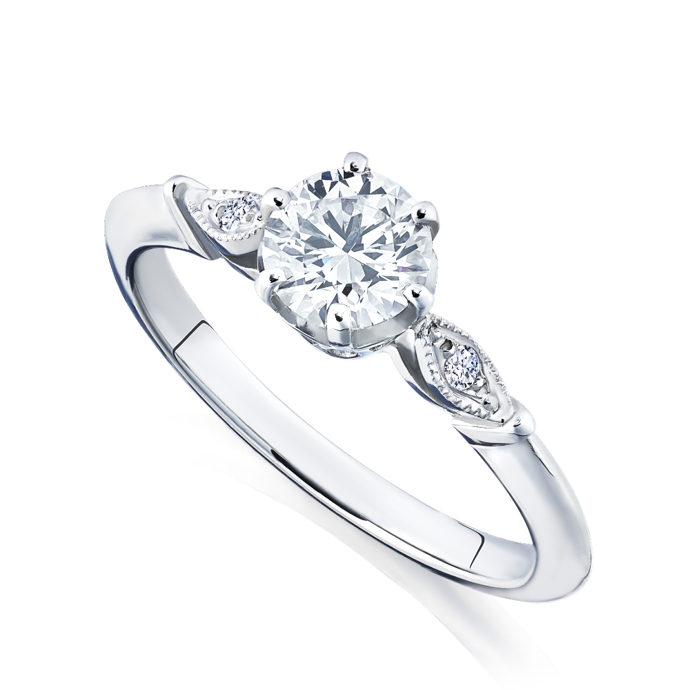Diamond Engagement Ring With Leaf Design