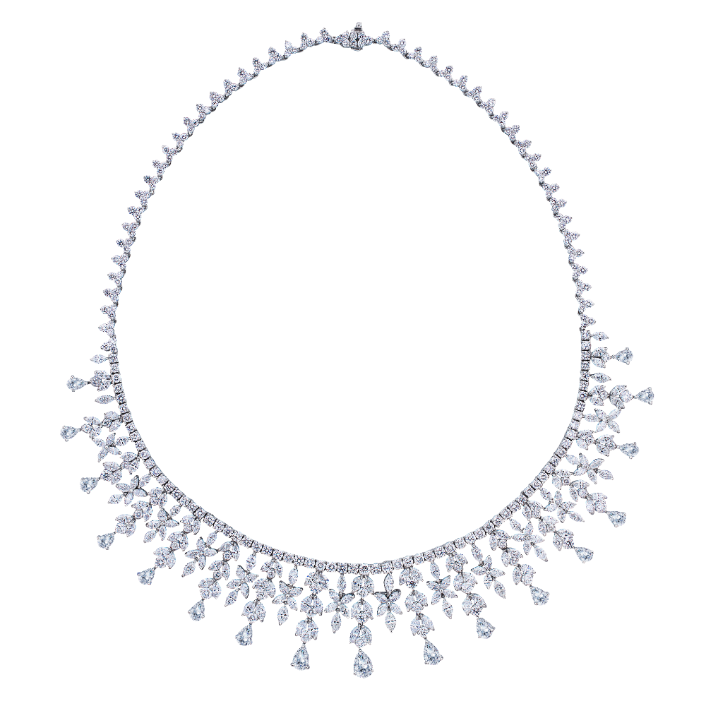 Fancy Diamond Set Fringe Necklet