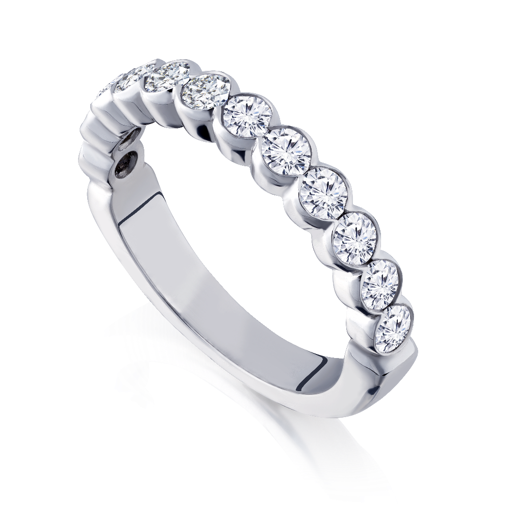 Diamond Half Eternity Ring With Scalloped Setting