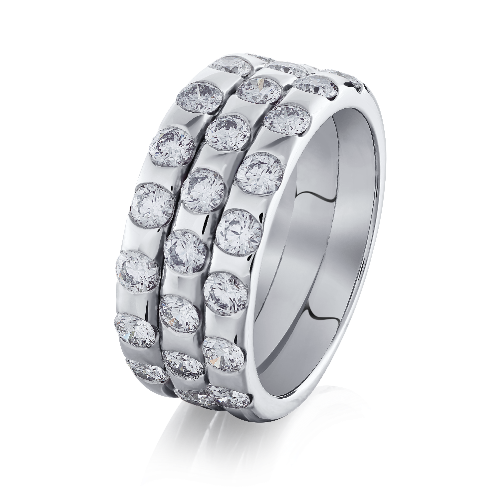 Three Row Diamond Set Band Ring