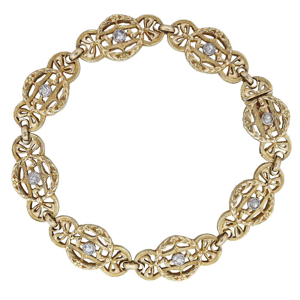 Parisian Diamond Set 18ct Yellow Gold Bracelet