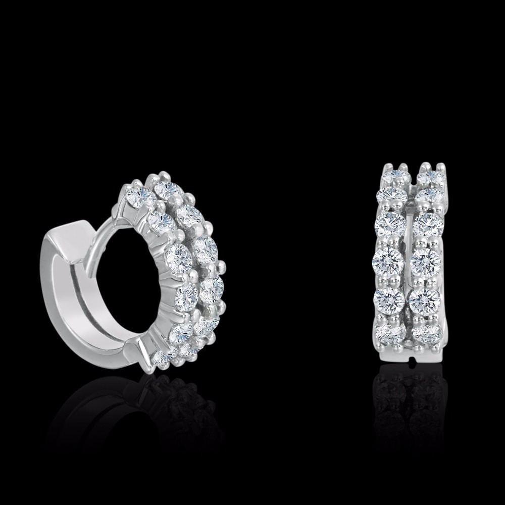 Two Row Diamond Set Huggie Earrings