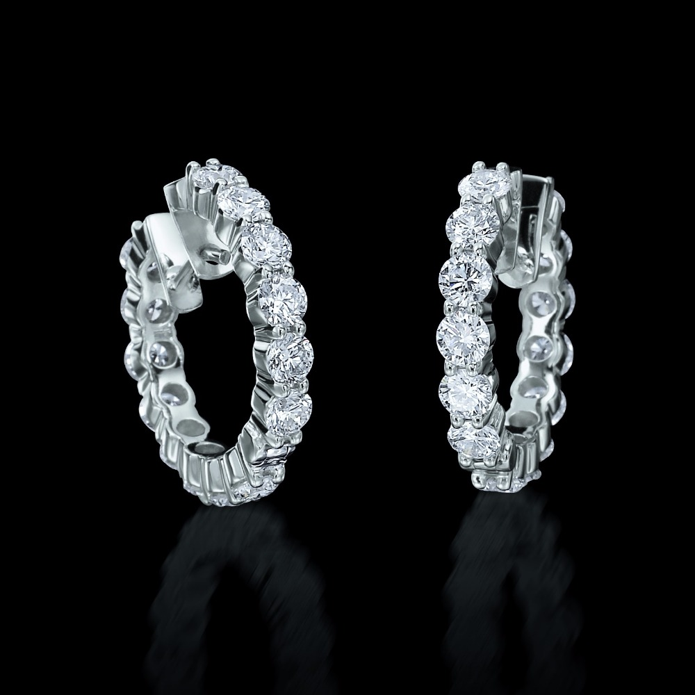 Diamond Set Huggie Earrings