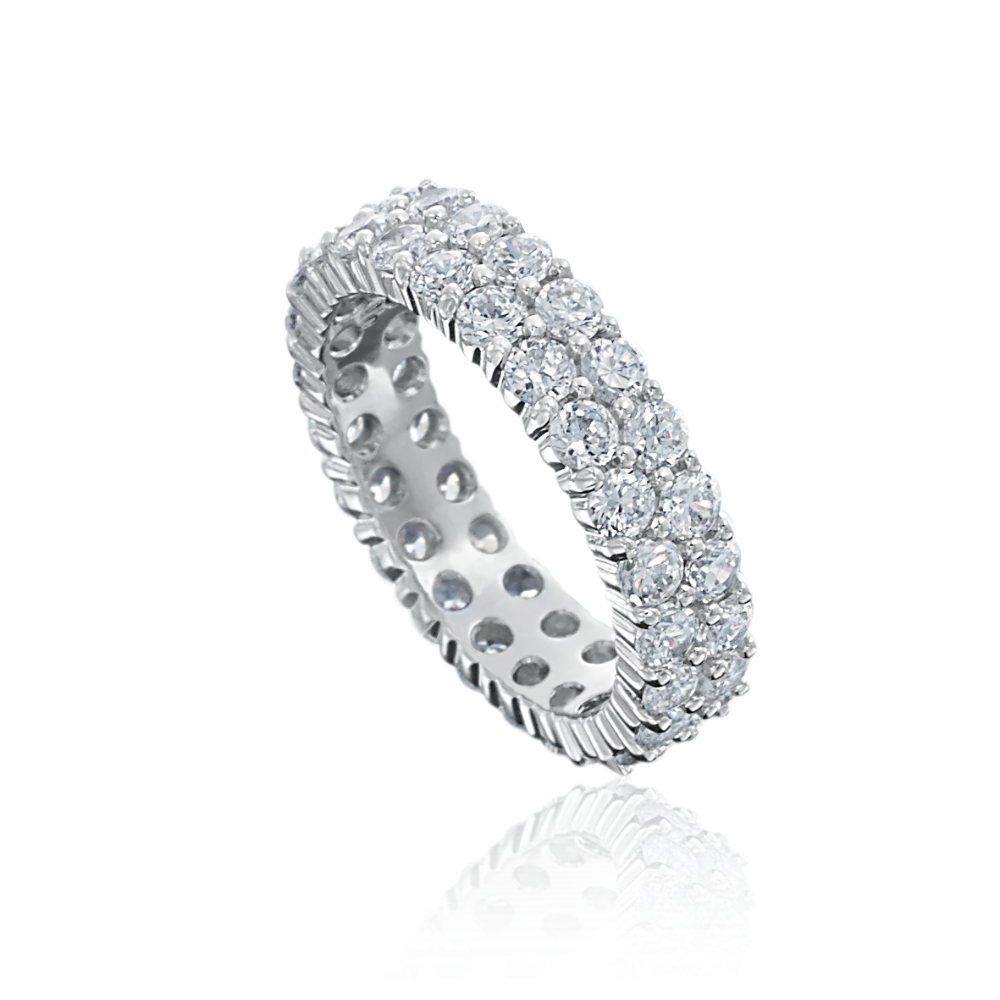 Two Row Wave Diamond Full Eternity Ring