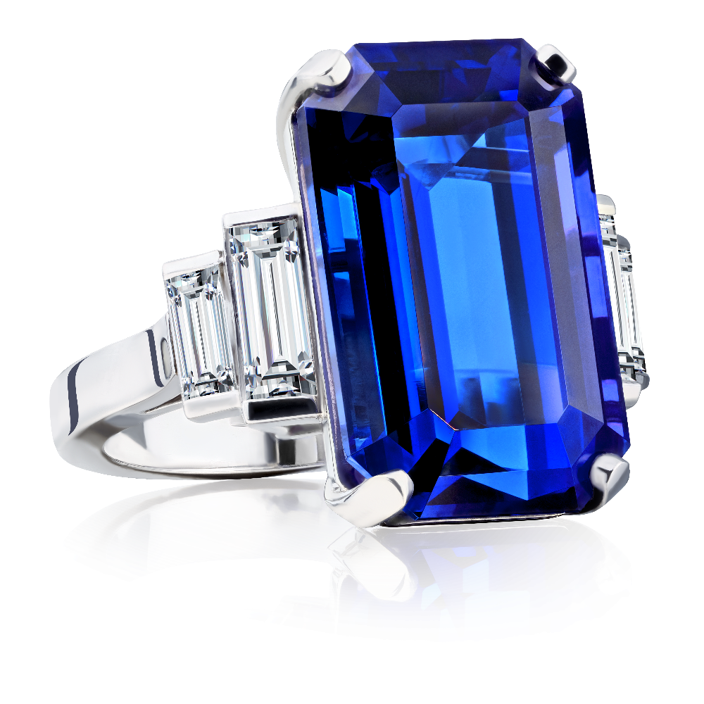 Tanzanite and Stepped Diamond Ring