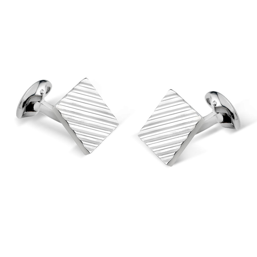 Engine Turned Square Silver Cufflinks
