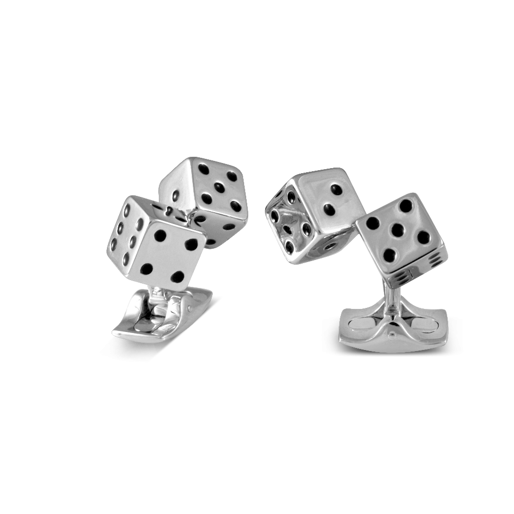 White Rhodium Dice Cufflinks