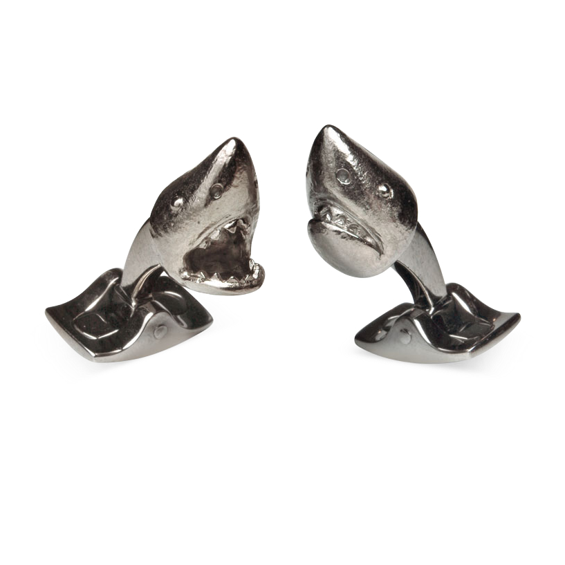 Grey Rhodium Shark Head Cufflinks
