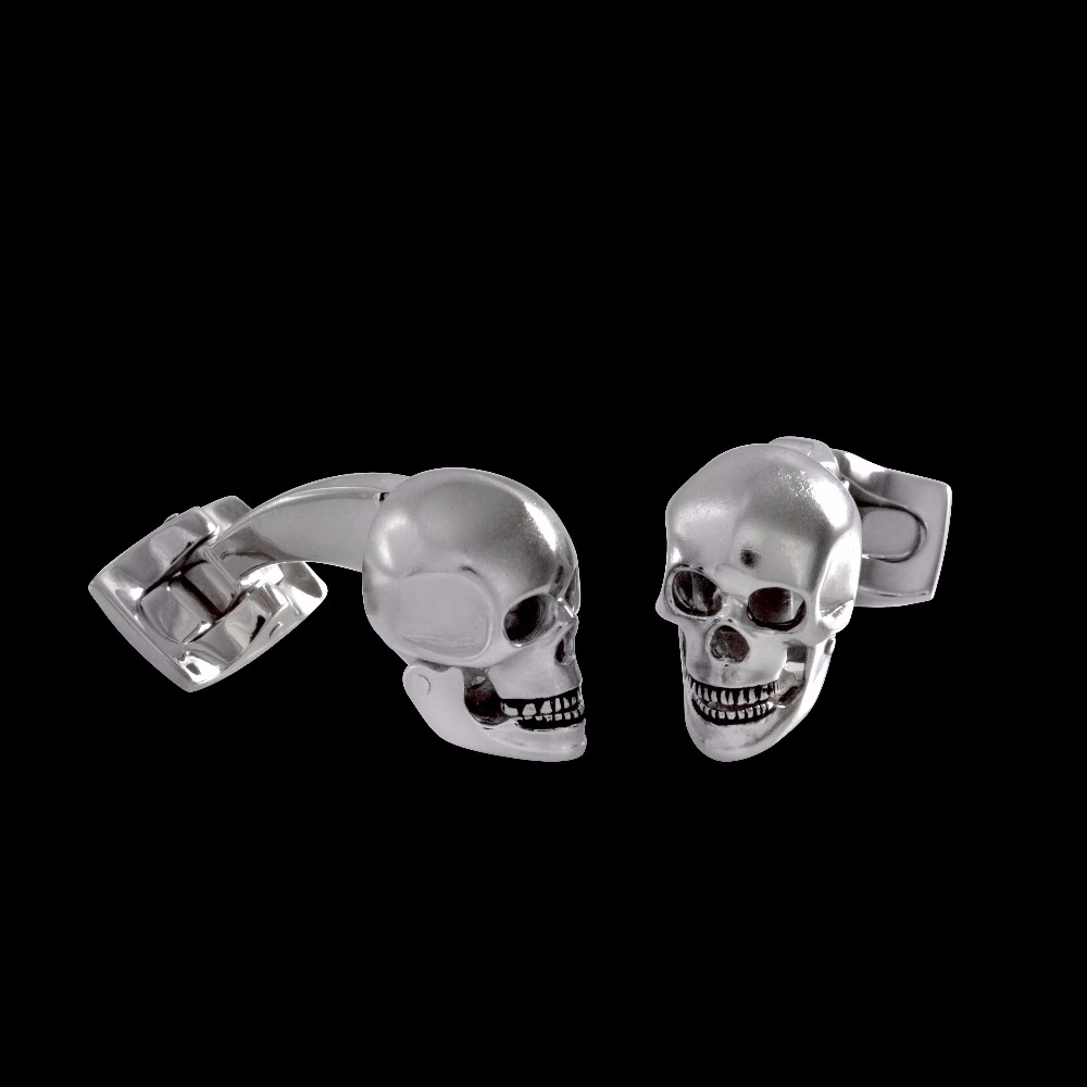 Moving White Rhodium Skull Head Cufflinks