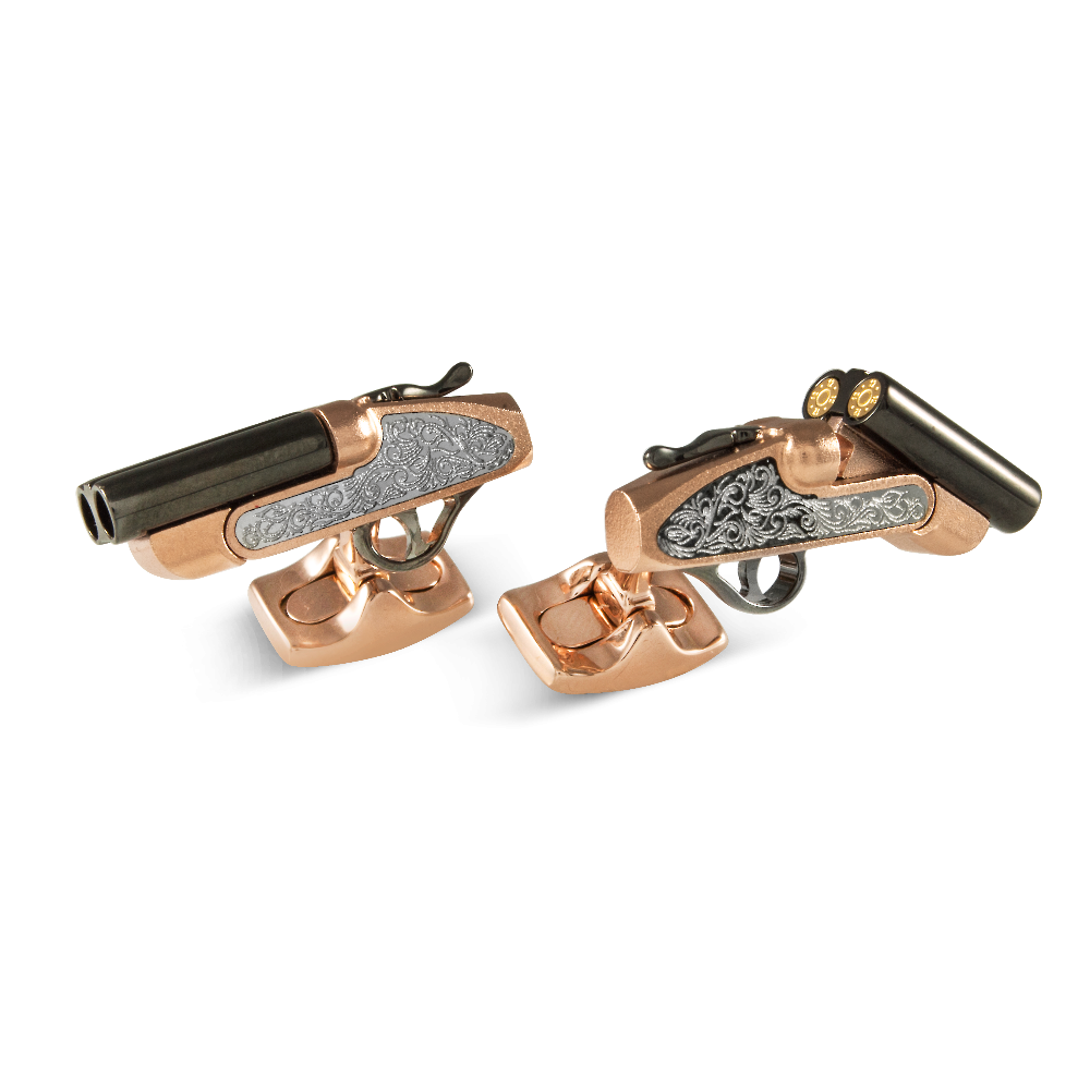 Moving Rose Gold Plated and Black Rhodium Shotgun Cufflinks
