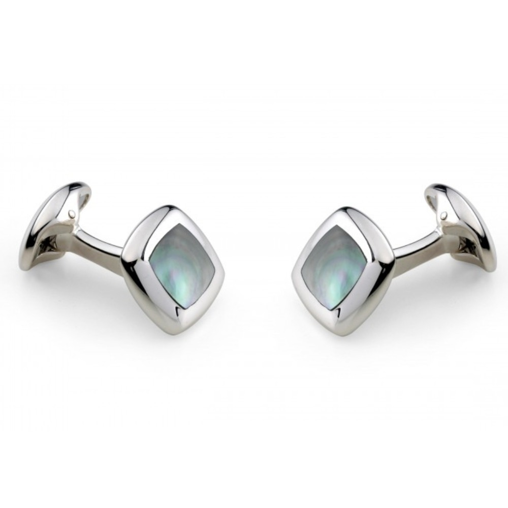 Sterling Silver and Grey Mother of Pearl Cufflinks