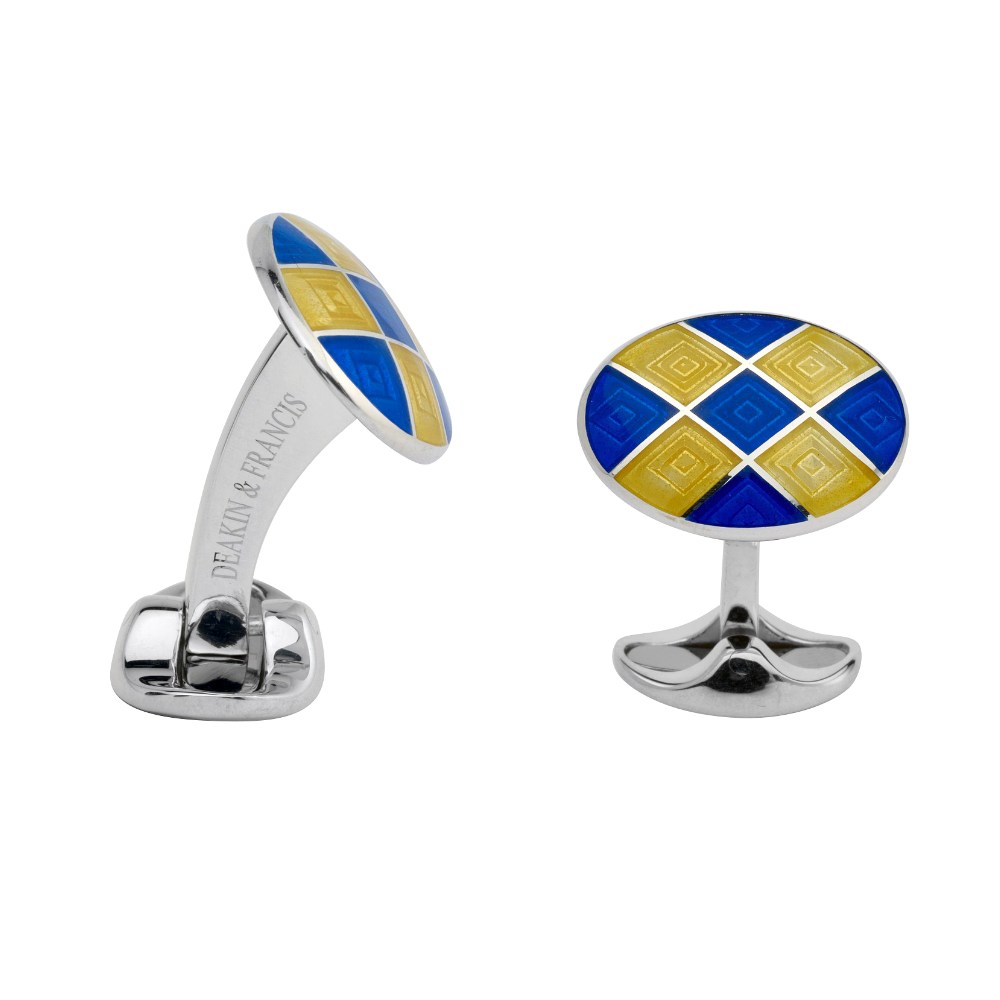 Sterling Silver and Enamel Oval Cufflinks