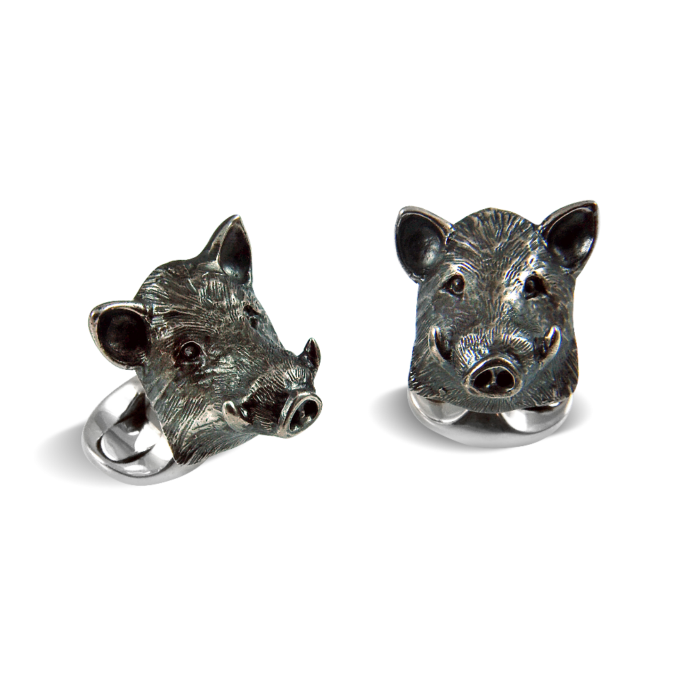 Sterling Silver Boar Cufflinks