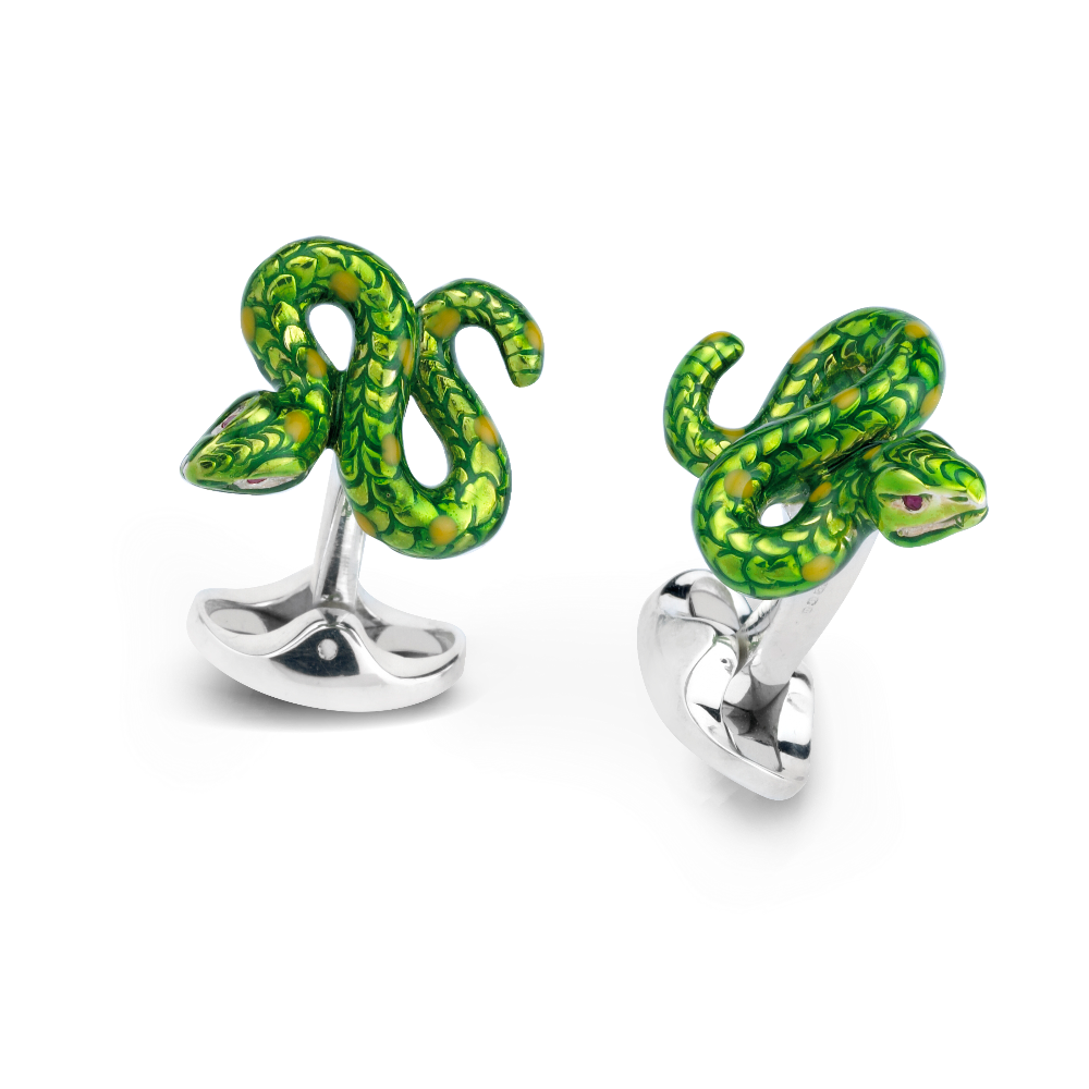 Sterling Silver and Enamel Serpent Cufflinks
