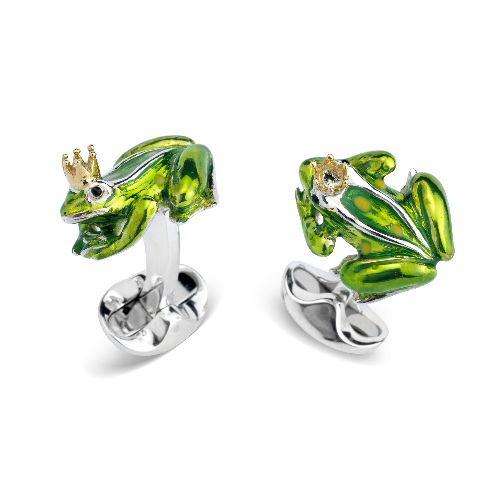 Sterling Silver and Enamel Frog Cufflinks