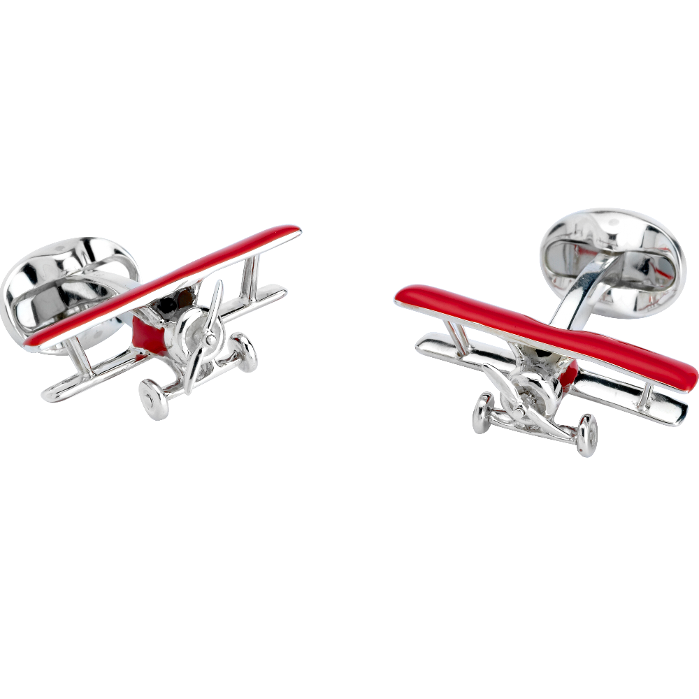 Movable Sterling Silver and Enamel Biplane Cufflinks