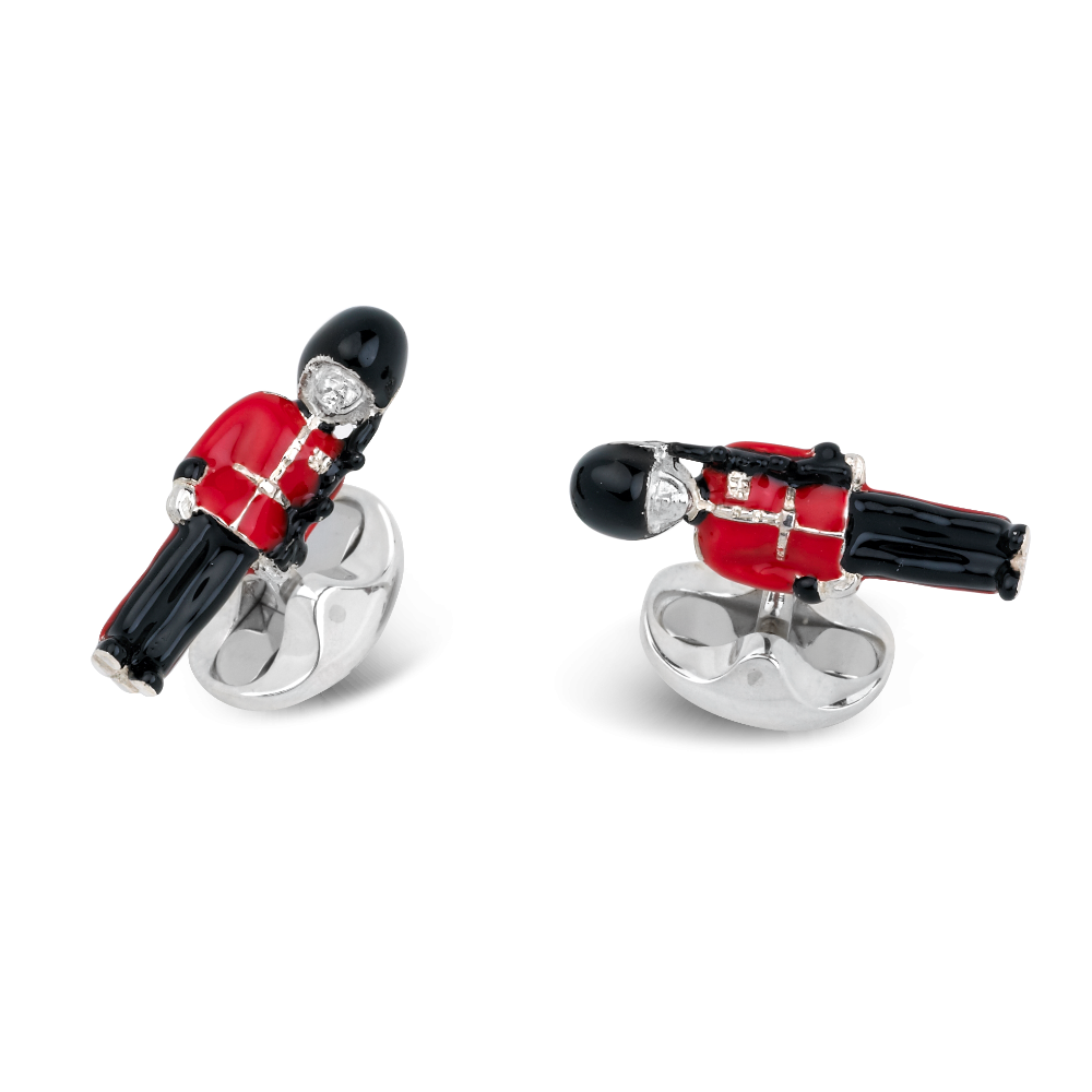 Sterling Silver and Enamel Buckingham Palace Guard Cufflinks