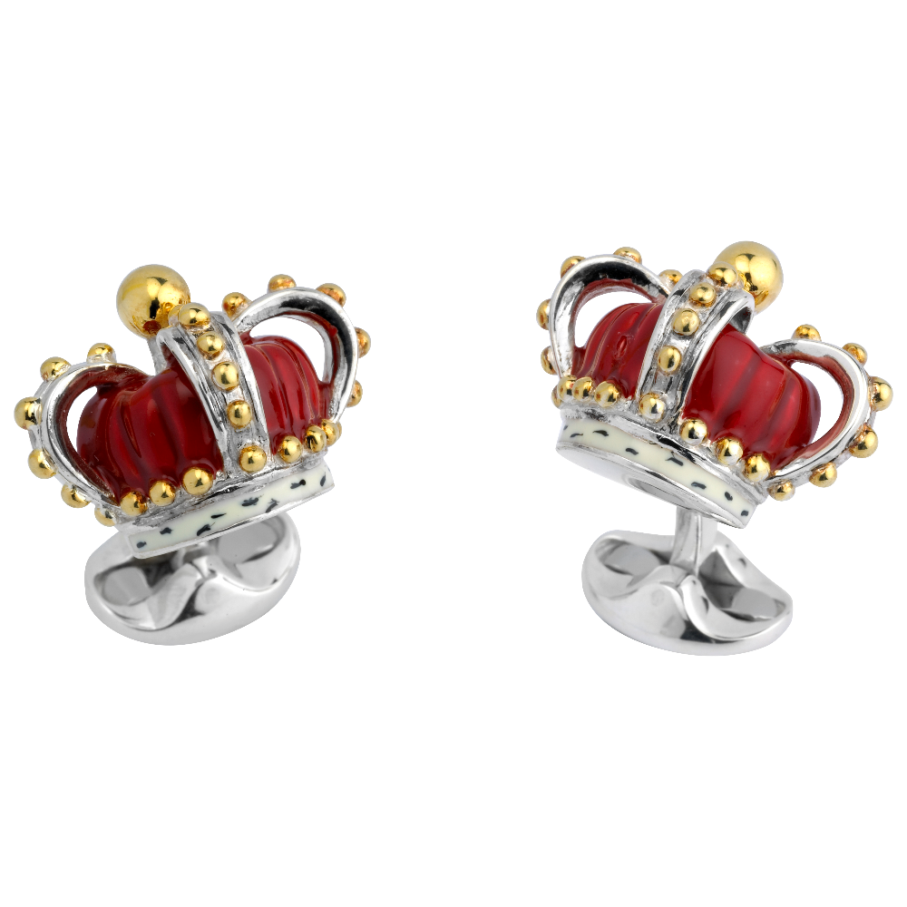 Sterling Silver and Enamel Crown Cufflinks